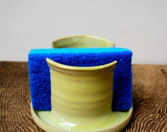 Creamy Yellow Sponge Holder Stoneware Clay Pottery Ready to Ship