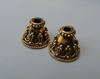 Vermeil End Caps, Vermeil Bead Caps, Bali Bead Caps, Ornate Bead Caps, 10mm Bead Caps, 10mm End Caps, Balinese Vermeil, Granulated,1 Pair