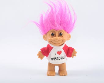 I Love Wisconsin Troll, Tee Shirt, Gift, Moving, State Pride, Vintage Collectible, Norfin, Russ, Dam ~ The Pink Room ~ CC004