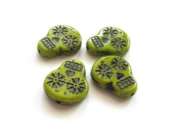 Chartreuse Green Czech Glass Sugar Skulls with Black Inlay, 20mm - 4 pieces