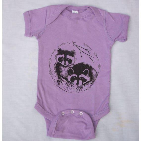 Baby Raccoon Onesie Baby Clothes Lavender Bodysuit