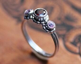 Unique birthstone ring, three stone ring, mothers birthstone ring, 3 stone ring, pink sapphire and garnet, crush trio, ready to ship size 7