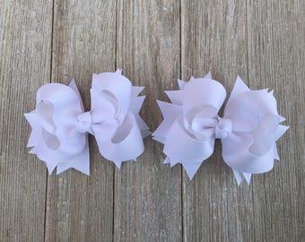 White Hair Bows,Layered Hair Bows,Pigtail Hair Bows,French Barrette Hair Bows,3.5 Inch Wide Hair Bows
