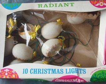 Vintage Egg Shaped Christmas Tree Lights Angels