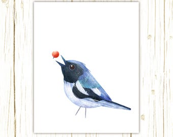 Black-Throated Blue Warbler Print -- bird art -- colorful bird art by stephanie fizer coleman illustration
