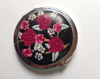 Compact, Make-Up Mirror, Floral Polymer Clay