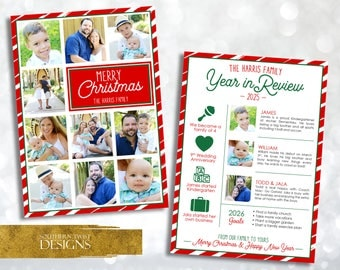 Year In Review Christmas Card - Christmas Card Year In Review - Year In Review Christmas Card With Photo - Christmas Photo Newsletter Card
