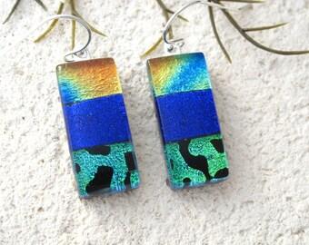 Cobalt Rainbow Earrings, Dichroic Earrings, Dangle Drop Earrings,  Dichroic Jewelry,  Sterling Silver Earrings, OOAK ccvalenzo,  081617e101