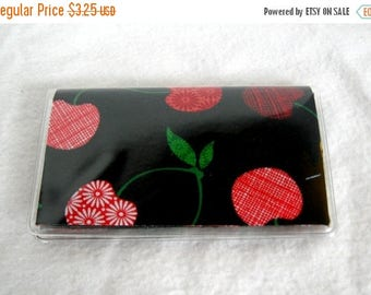 20% OFF Business Card Holder - Cherries Mini Wallet Black Red - Cherry Vinyl Biz Card Case
