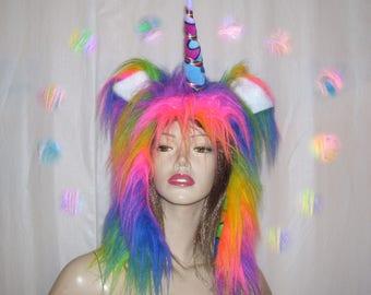 Mystic Unicorn Hat Horn Adult Unisex Furry Fantasy Hood Rainbow Gay Pride Parade Faux Fur Furries Fetish Rainbow Pegasus Halloween Costume