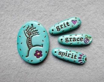 Joyful Dancing Woman/Affirmation Word Beads - Grit, Grace, Spirit