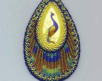 Made to Order - Beadwoven Peacock Statement Necklace . Green Blue Golden Bird . Bead Embroidery - OOAK Peacock by enchantedbeads on Etsy