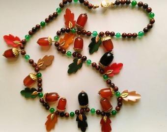 Vintage Bakelite Style Acorn Necklace. Agate, Aventurine. Fall Color Oak Leaves. Art Deco 1940s - Colorful Autumn by enchantedbeads on Etsy