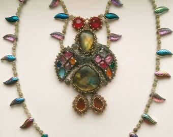 Beadwoven Statement Bird Necklace, Dodo Bird, Bead Embroidery, Turkey, Thanksgiving, Colorful OOAK Bird Necklace  by enchantedbeads on Etsy