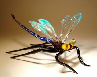 Handmade Blown Glass Figurine Gorgeous Blue and Clear DRAGONFLY