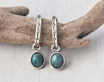Vintage Southwestern Hoop Earrings - 925 sterling silver stamped designs - removable oval turquoise charm drop - post backs