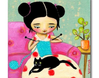 Original Black Cat painting KNITTING with kitty cat folk art painting original acrylic cat art by artist Tascha