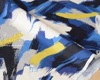 Japanese Fabric brushed rayon twill brushstrokes - blue, mustard, grey, black - 50cm