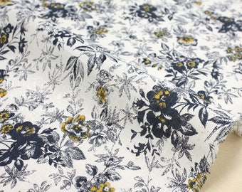 Japanese Fabric 100% linen floral - dark navy, mustard -  50cm