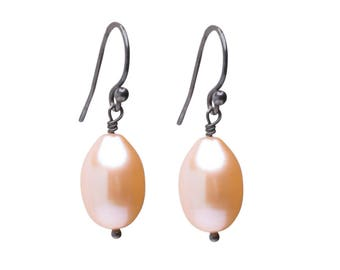Freshwater Pearl Earrings, Natural Pearl Drop Earrings, Pearl and Rose Gold-fill Earrings, Bridal Jeaelry, Peach Pearls, Pink Pearls