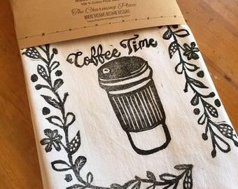 Coffee Time Tea Towel, Flour Sack Towel, Dish Towel,Housewarming Gift,Funny Dish Towel,Hostess Gift, Farm House Decor,Block Printing,bee