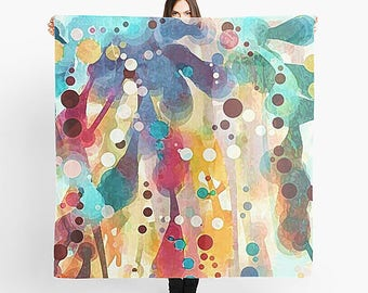 Rainbow Scarf, Women's Scarf, Wearable Art, Art Scarf, Square Scarf, Chiffon Scarf, Abstract Watercolor, Abstract Scarf, Summer Scarf