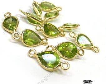 10 pcs Green Peridot (natural) Gold bezel Bezel Tear Drop Connector F497