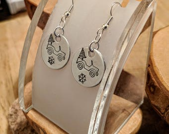 Merry Jeepmas hand stamped silver Christmas earrings