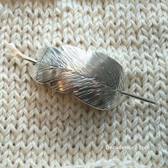 Sterling Silver Forged Feather Shawl Brooch Stick Pin