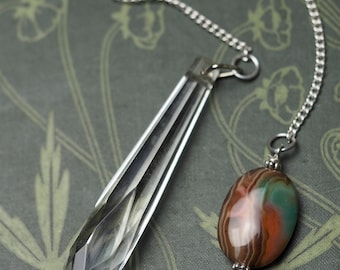 Antique Glass Crystal pendulum with gemstone for dowsing and divination - Pagan, Wicca, Witchcraft