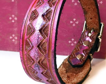Pink Purple Geometric Tooled Leather Dog Collar, Size S to fit a 10-13 in Neck, Small Dog, Unique, Fluffy Dog Collar, OOAK