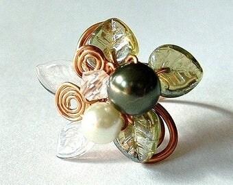 ON SALE Lothlorien Spring Art Nouveau Ring