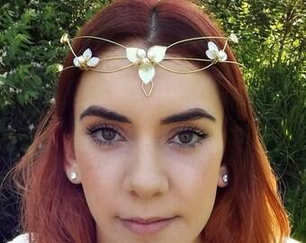 ON SALE Elven Wedding Circlet Tiara Crown ~ Woodland Triquetra in custom colors