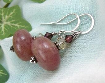 Ruby Quartz Earrings ~ Frosty Pink Earrings ~ Rose Earrings ~ Rose Pink Earrings ~ Bead Dangle ~ Bead Earrings ~ Stacked Bead Earrings