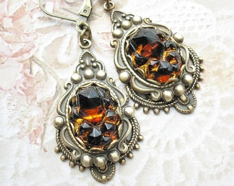 Root Beer Rock Candy Glass Earrings - Brown Topaz Victorian Style Earrings