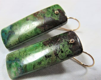 Natural Smooth Parrot Wing Chrysocolla Rectangle Shape, and 14K Solid Yellow Gold Earwires