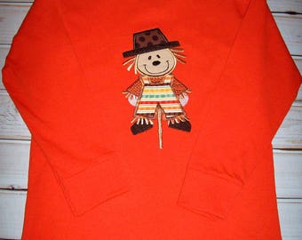 Sample Sale Boys Fall Scarecrow Applique Orange L/S T-shirt size 5/6--Fall--Thanksgiving--Halloween--Holiday