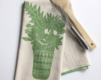 Ball Jar and Flowers Block Printed Handmade Tea Towel-100 % cotton kitchen towel-finshed with a rolled hem