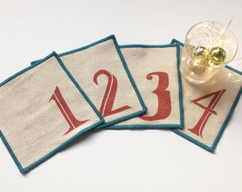 Numbered Cocktail Napkin Set of Four, Handmade in Seattle, 100% cotton cloth coaster, Bar Accessory