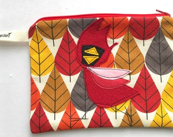 Cardinal Felt Appliqué large zipper pouch, organic cotton canvas, lined, gift idea, bird