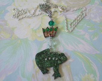Frog Prince with Crown Pendant Necklace