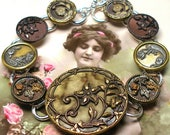 """French BUTTON bracelet, Victorian flowers & leaves, 7.75"""" Antique Button jewellery."""