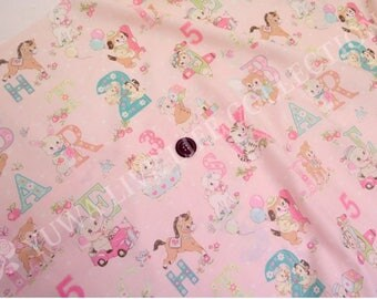 HALF YARD Yuwa - Happy Baby on Light Pink - Atsuko Matsuyama 822366-D - Cute Animals and Alphabet Letters - Japanese Fabric