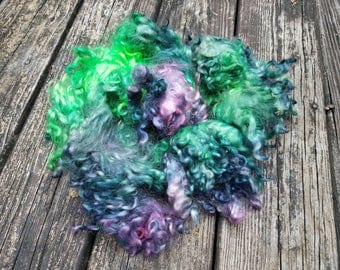 Hand dyed Teeswater /Coopworth Locks-Borealis; Iceland Collection- Jazzturtle Fiber for Spinning, Felting, Doll Hair, Blythe, Waldorf Dolls