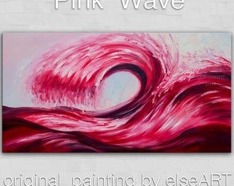 """Sale Art, painting, oil painting, Pink Rolling Wave, landscape painting, wall decor canvas, oil painting, abstract painting, by Tim Lam, 48"""""""