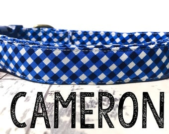"Bright Blue White Gingham Summer Nautical Boy Preppy Plaid Dog Collar - Organic Cotton Dog Collar - All Antique Brass Hardware - ""Cameron"""