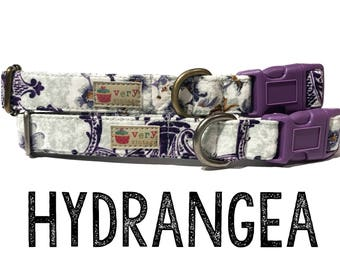 "Vintage Dog Collar - Floral Dog Collar - Girl Dog Collar - Shabby Chic Dog Collar - Antique Metal Hardware - ""Hydrangea"""