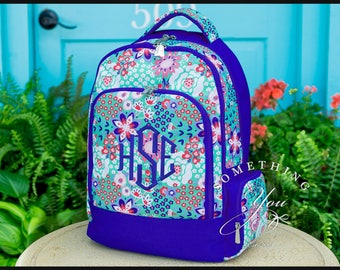Garden Party Monogrammed Backpack,  Personalized School Bags for Girls, Blue and Mint Floral Bookbags for kids