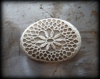Crocheted Stone, Handmade One of a Kind Unique Decorative Doily Rock, Flower, Bohemian Beach, Small, Latte Foam Beige Miniature Art, Monicaj