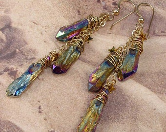 RAINBOW MYSTIC - Treated Raw Quartz Crystal Cascade 14k Gold Fill Earrings